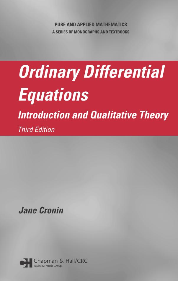 Ordinary Differential Equations – Introduction and Qualitative Theory (3rd Edition)